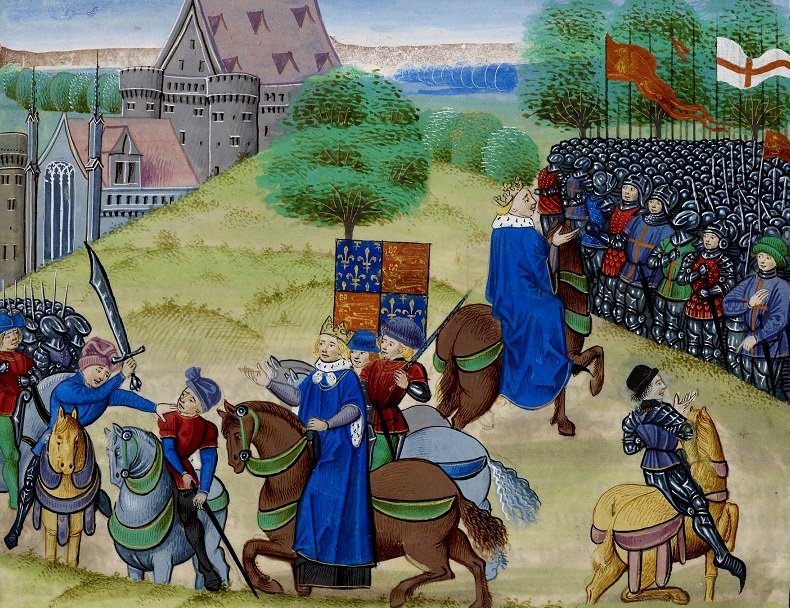 The death of Wat Tyler in the peasants' revolt of 1381.