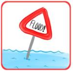 hand drawn cartoon of a red traingular flood warning sign sitting in blue water