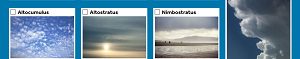 Three boxes with colour photos of each cloud type with tenth cloud type at right hand side