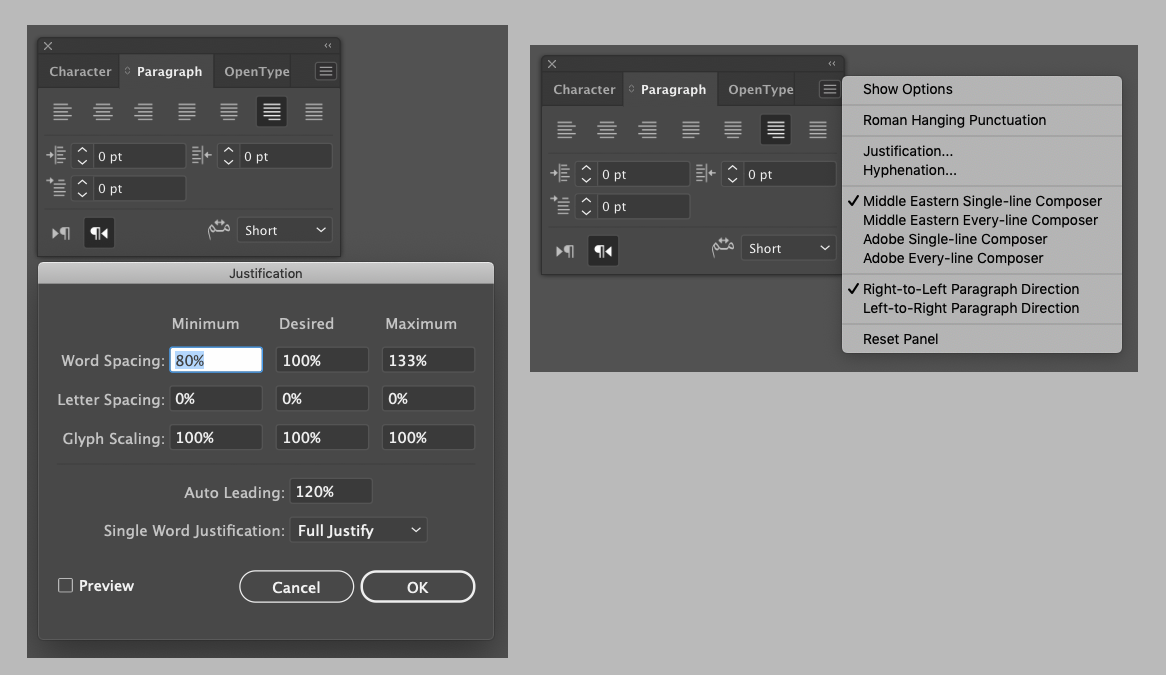 Adobe Illustrator 24 Arabic Paragraph palette and justification options