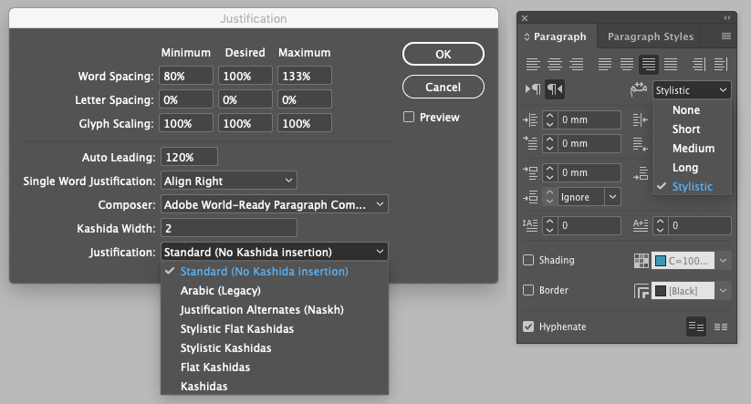 InDesign 15 Arabic Paragraph palette and justification options