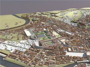3D model of the Campus Martius and surrounding buildings as it appeared in Ancient Rome, circa AD 315.
